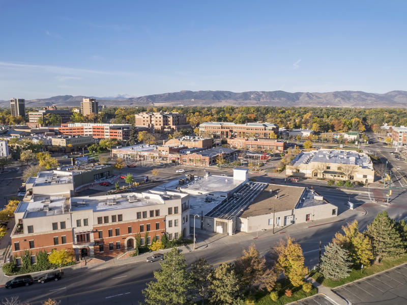 I stadens centrum Fort Collins royaltyfri foto