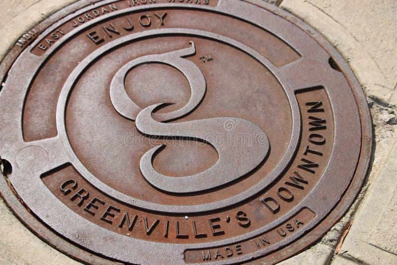 I stadens centrum Greenville, SC royaltyfria bilder