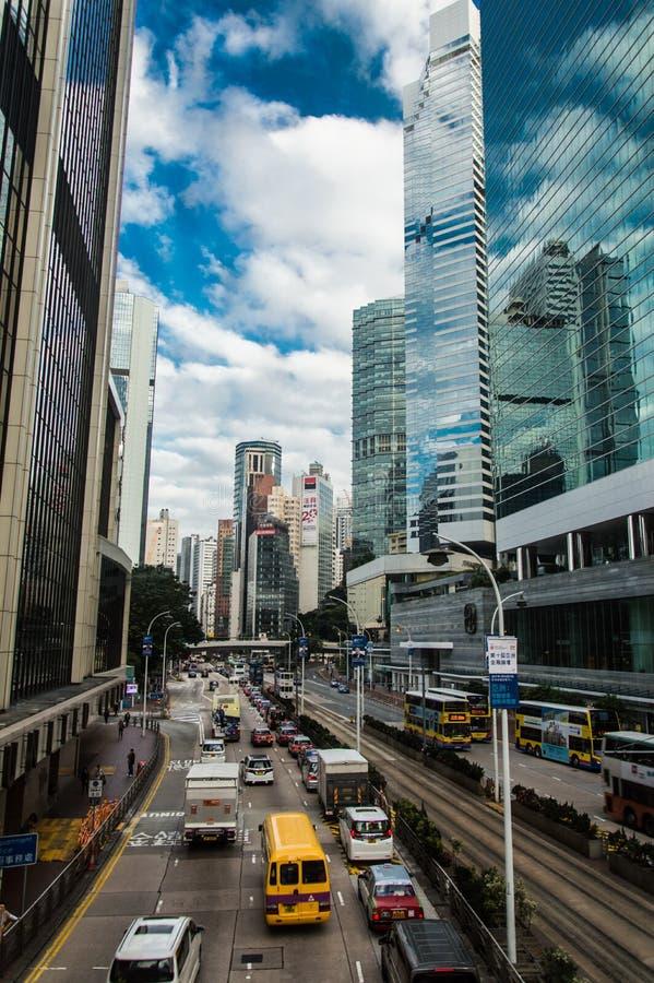 i stadens centrum Hong Kong trafik royaltyfria foton