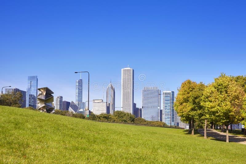 I stadens centrum horisont för Chicago stad i otta, USA arkivfoton