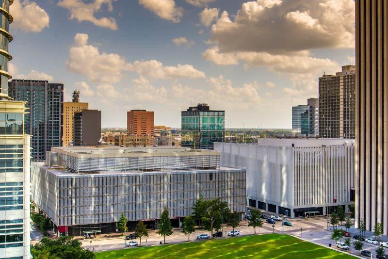 I stadens centrum Houston highrisebyggnader arkivbild