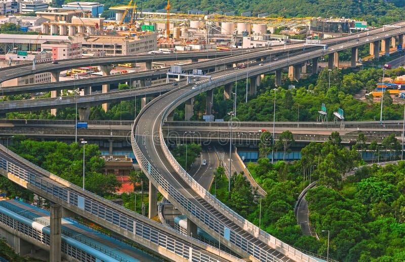 i stadens centrum huvudvägar Hong Kong royaltyfri bild