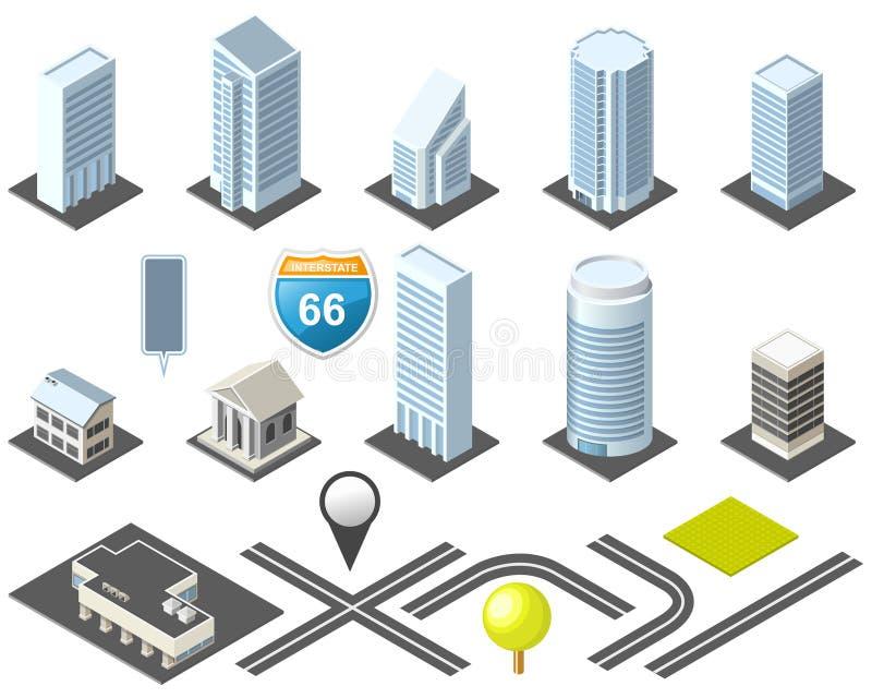 i stadens centrum isometrisk översiktsverktygslåda royaltyfri illustrationer