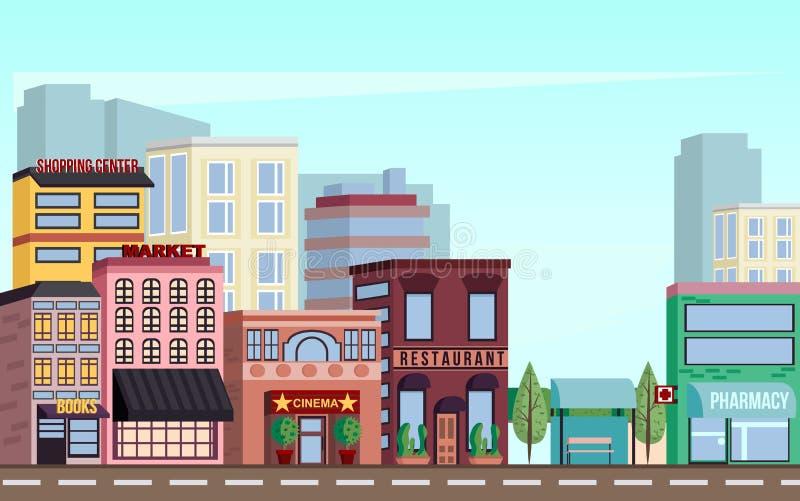 I stadens centrum landskap för stad med köpcentra, marknader, bior, restauranger vektor illustrationer