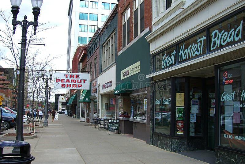 I stadens centrum Lansing, Michigan, lagrar och shoppar arkivbild