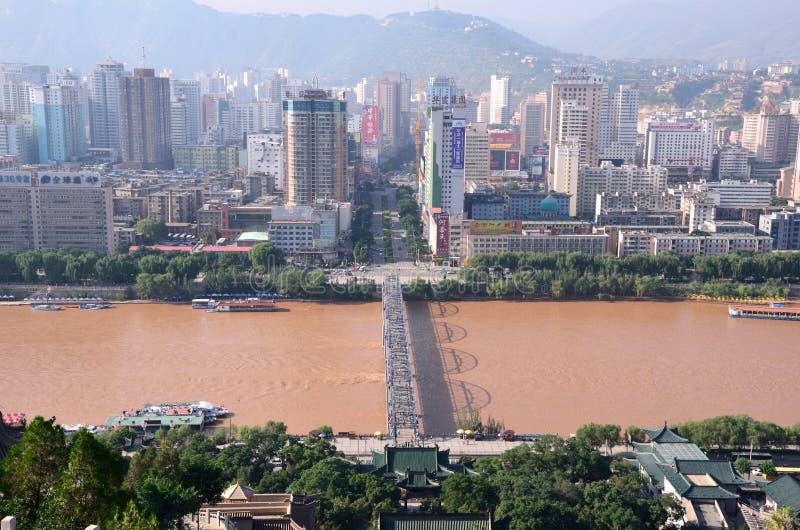I stadens centrum Lanzhou arkivfoto
