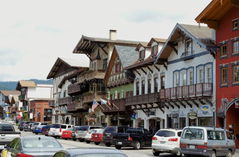 I stadens centrum Leavenworth Washington royaltyfri fotografi