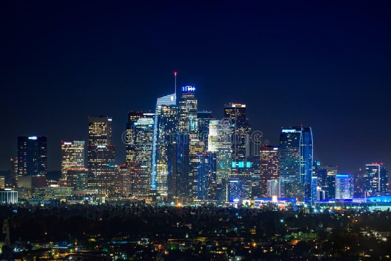 I stadens centrum Los Angeles på nigth royaltyfri bild