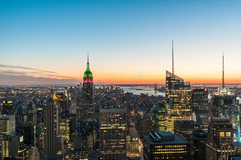 I stadens centrum Manhattan i New York, Förenta staterna arkivbild