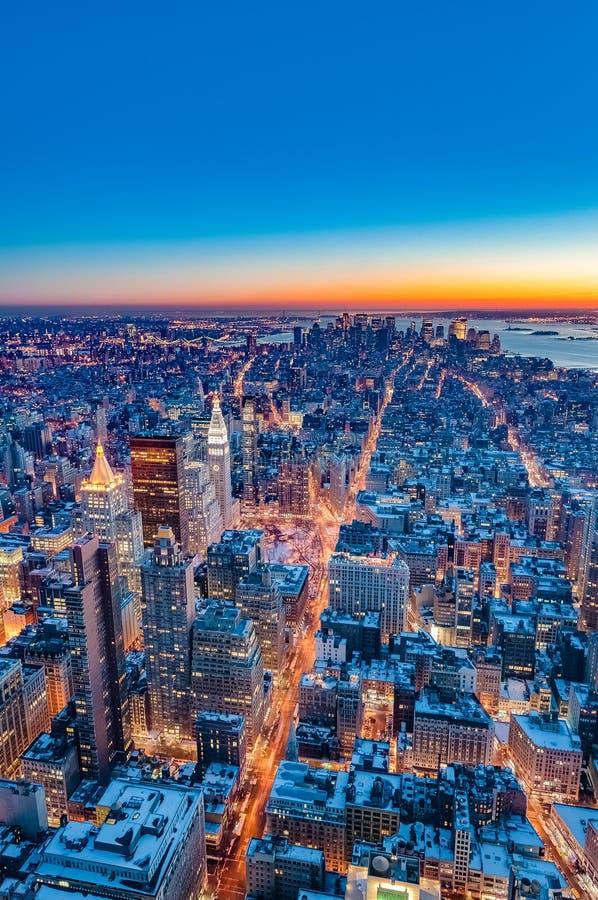 I stadens centrum Manhattan i New York, Förenta staterna arkivfoton