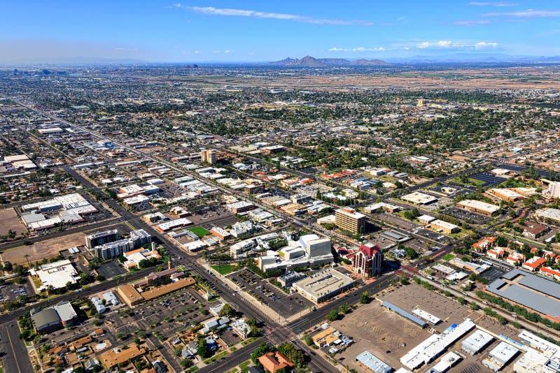 I stadens centrum Mesa, Arizona från över arkivfoto