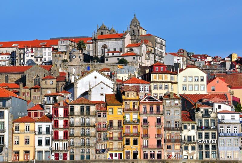 I stadens centrum panorama av Porto royaltyfria foton