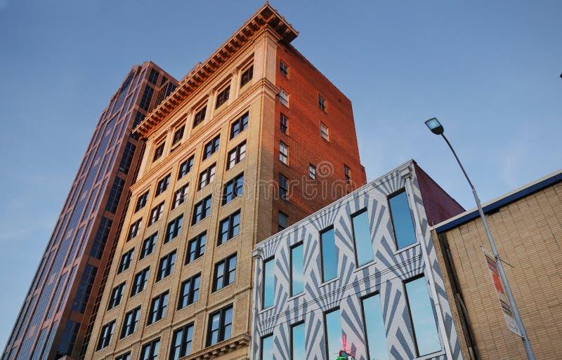 I stadens centrum Raleigh byggnader arkivbilder