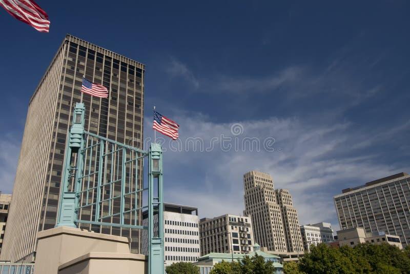 I stadens centrum Saint Paul, Minnesota, på Mississippi royaltyfri foto