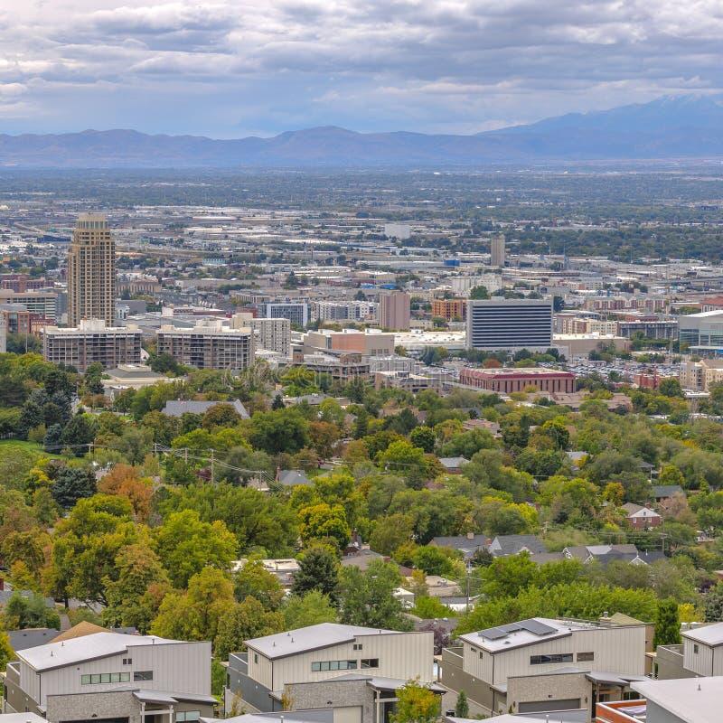 I stadens centrum Salt Lake City Utah landskap och horisont royaltyfri bild