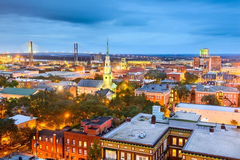 I stadens centrum Savannah, Georgia, USA royaltyfria foton