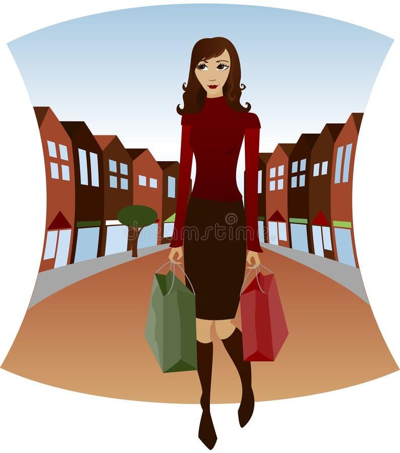 i stadens centrum shopping royaltyfri illustrationer