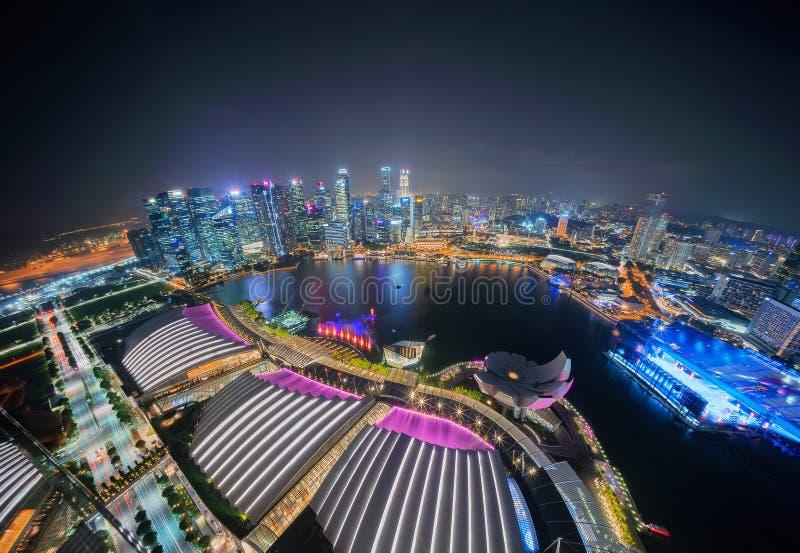I stadens centrum Singapore stad i Marina Bay område Finansiellt område a arkivbild
