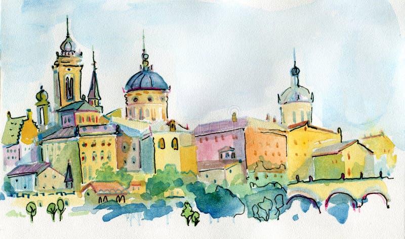 I stadens centrum storstad för vattenfärgteckningscityscape, aquarellemålning Europa stock illustrationer
