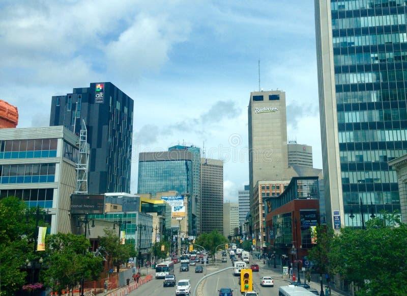 I stadens centrum Winnipeg fotografering för bildbyråer