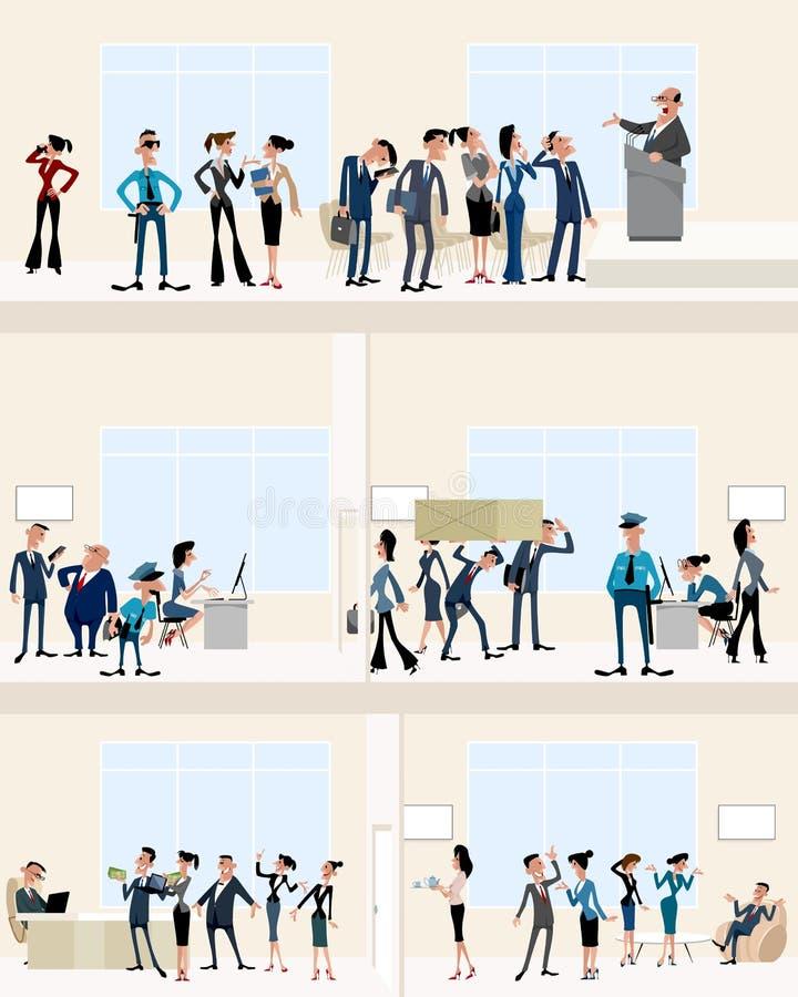 I stort kontor royaltyfri illustrationer