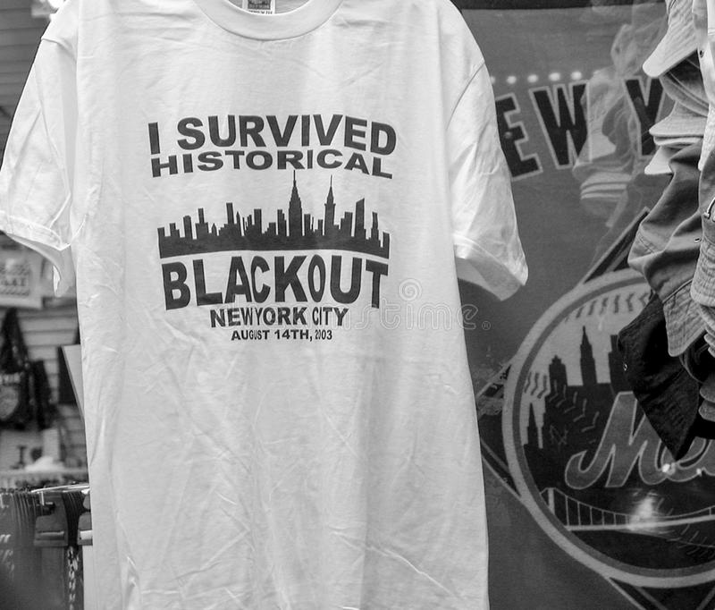 I survived historical Blackout in New York City T-Shirt. USA stock image