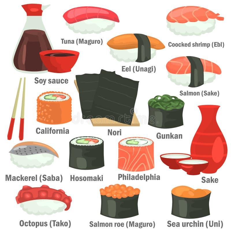 I sushi colorano le icone piane messe con i nomi su fondo bianco illustrazione di stock