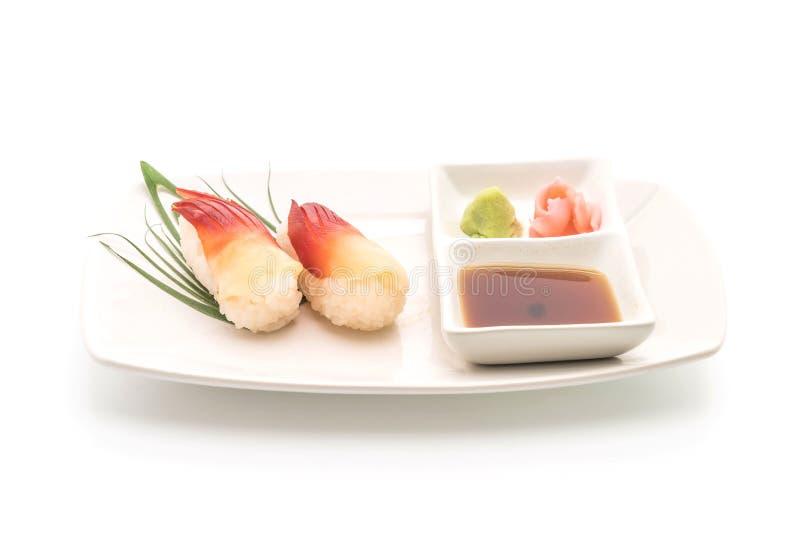 I sushi di nigiri della cappa americana di Stimpson (hokkigai) - alimento giapponese s immagine stock