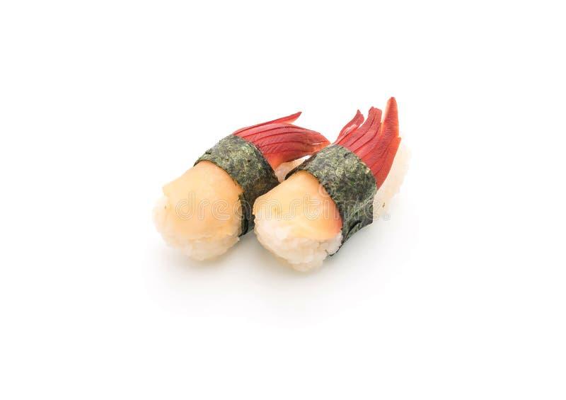 I sushi di nigiri della cappa americana di Stimpson (hokkigai) - alimento giapponese s fotografia stock