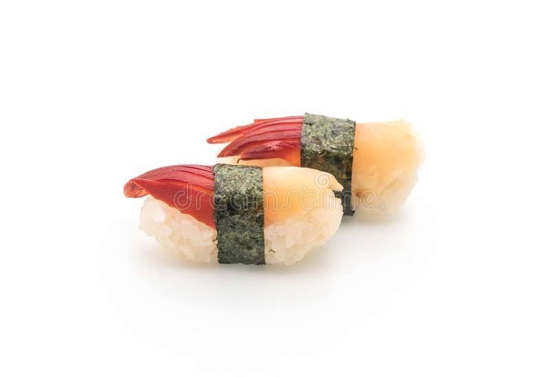 I sushi di nigiri della cappa americana di Stimpson (hokkigai) - alimento giapponese s fotografia stock libera da diritti