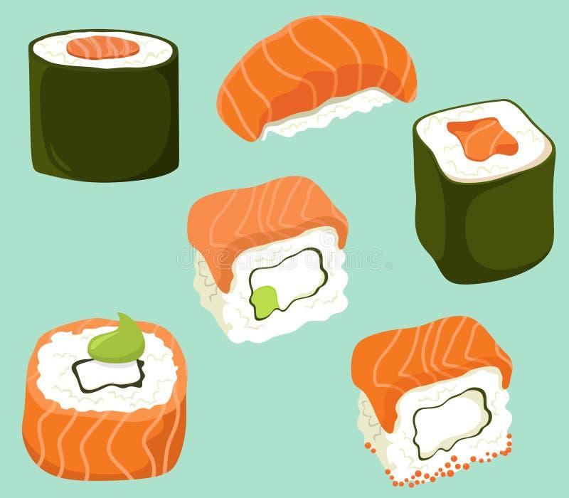 I sushi hanno messo nello stile piano del fumetto Isolati di vettore illustrazione vettoriale