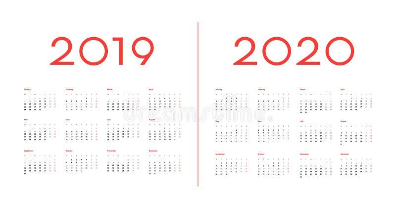 2019 i 2020 szablonu wektoru Kalendarzowy wizerunek fotografia royalty free