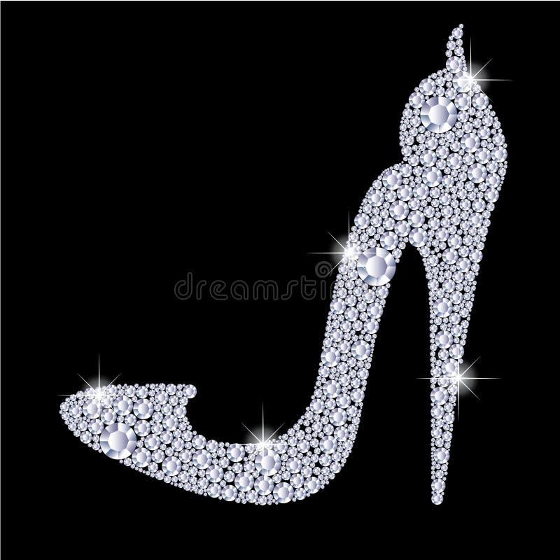 I tacchi alti eleganti delle signore calzano la forma, fatta con i diamanti brillanti royalty illustrazione gratis