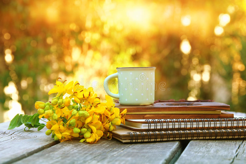 i taccuini accanto al campo fiorisce sulla tavola di legno all'aperto fotografie stock libere da diritti