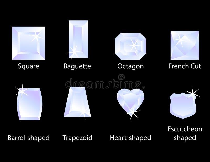 I tagli differenti della gemma hanno impostato 1 illustrazione di stock