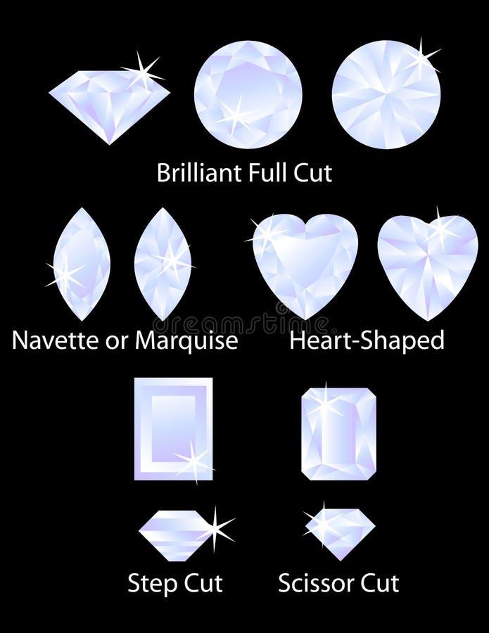 I tagli differenti della gemma hanno impostato 3 illustrazione di stock