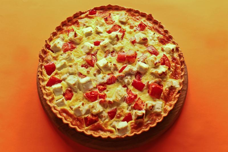 Delicious pie with cheese filling stock image