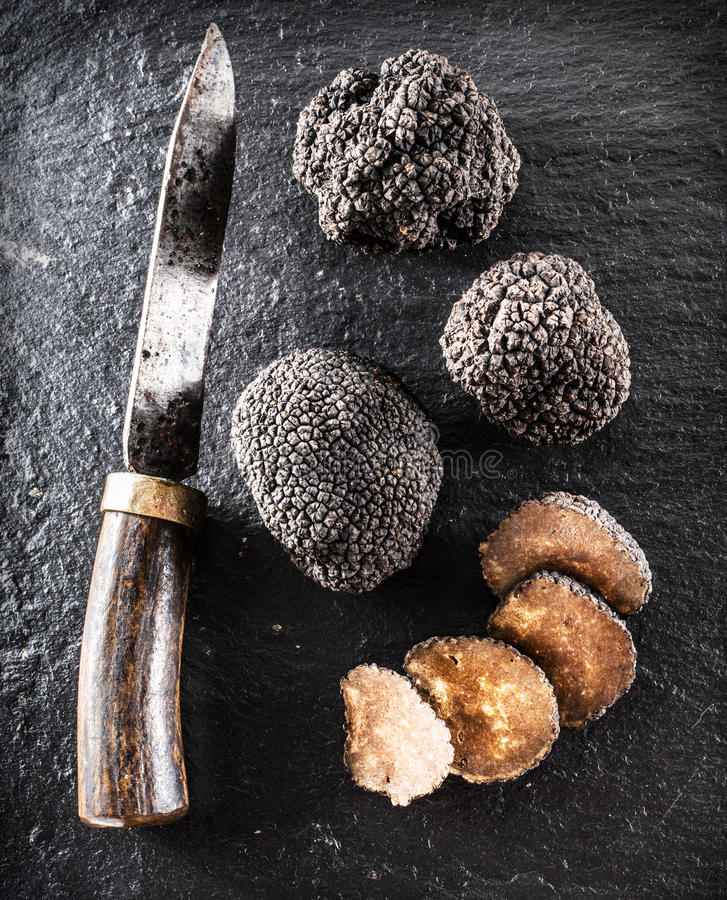 I tartufi e le fette neri del tartufo su una grafite imbarcano fotografia stock libera da diritti