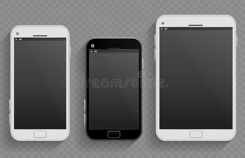 I telefoni cellulari del touch screen, gli smartphones nella dimensione differente e la compressa vector i modelli realistici illustrazione vettoriale