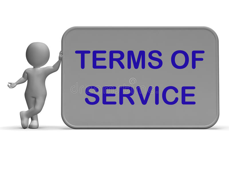 I termini del segno di servizio mostra l'accordo ed il contratto per uso illustrazione di stock