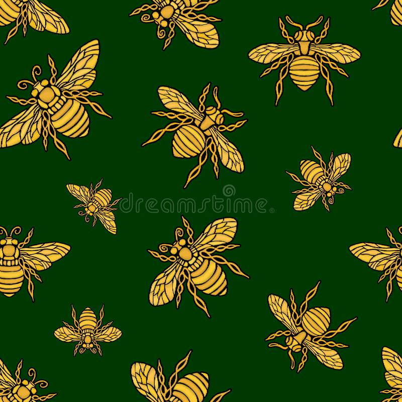 I tessuti di tessuto senza cuciture del modello del ricamo dorato dell'ape di Hohey hanno ornato il vettore disegnato a mano dora royalty illustrazione gratis