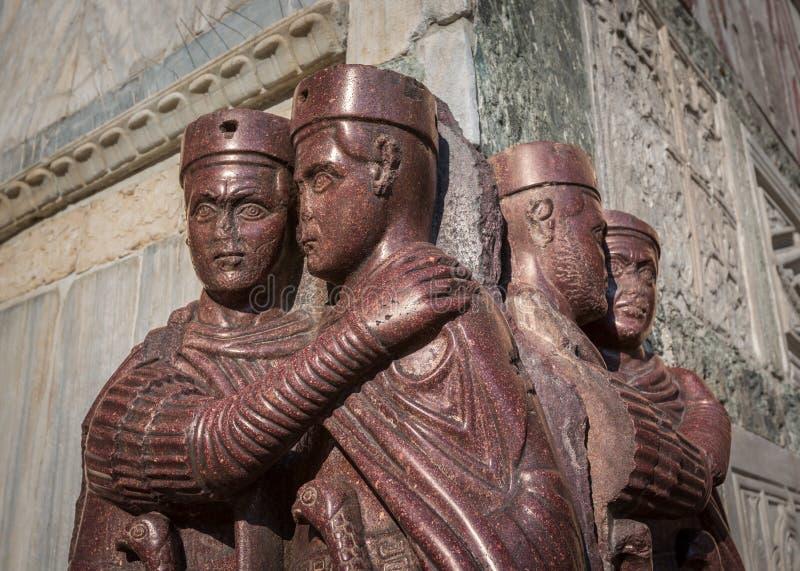 I Tetrarchs - una scultura di Porfirio di quattro Roman Emperors, sacco fotografia stock libera da diritti
