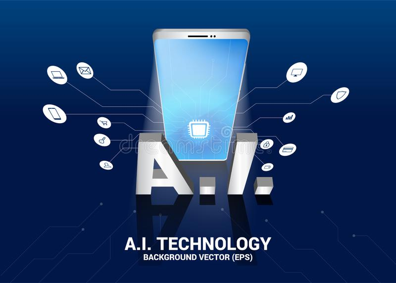 A.i. text and mobile phone 3D with circuit line graphic. Concept of mobile telecommunication with machine learning. Artificial Intelligence stock illustration