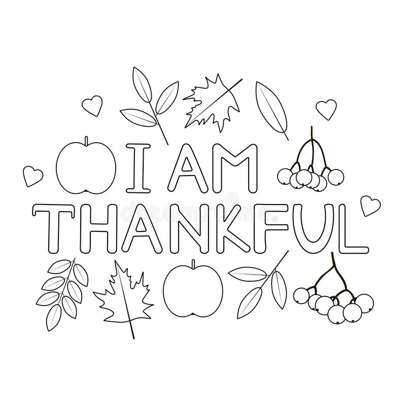 I Am Thankful Thanksgiving Coloring Page Stock Vector Illustration Of Poster Fall 200306113