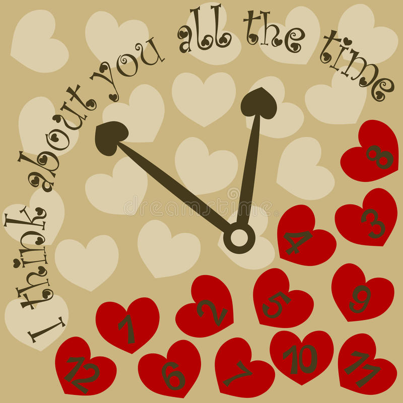 I think about you all the time valentine clock with hearts. Clock with hearts and message: I think about you all the time vector illustration