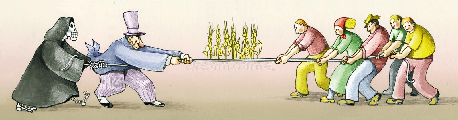 Land grabbing people figting for life. I throw to the rope between capitalist and farmers to defend the earth royalty free illustration