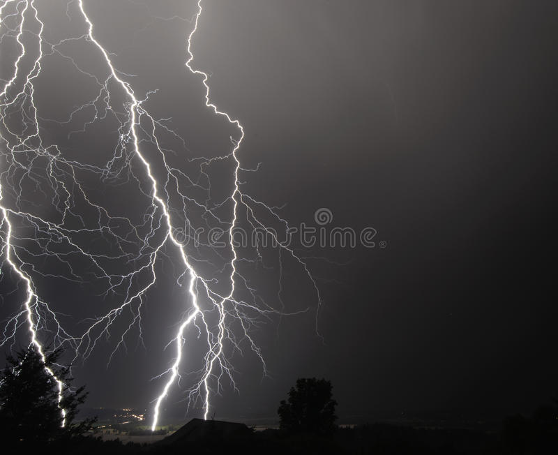 I-5 Thunderstorm In the Mid Willamette Valley. An August night Thunder and Lightning Storm Over I-5, Mid Willamette Valley, Marion County, Western Oregon stock image