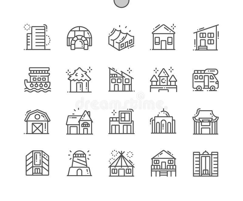 I tipi di case Ben-hanno elaborato la linea sottile icone di vettore perfetto del pixel royalty illustrazione gratis