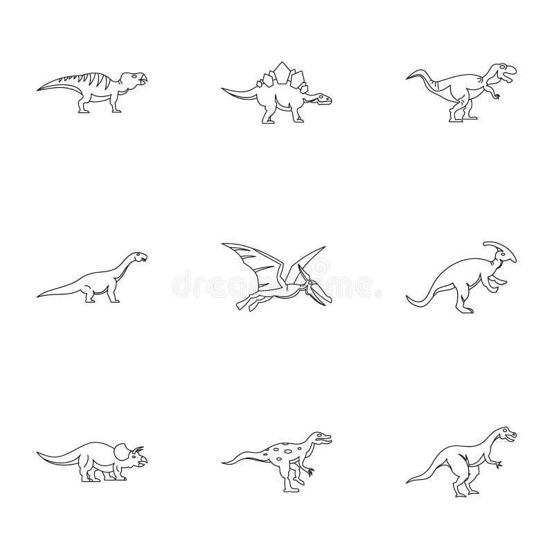 I tipi di icone del dinosauro fissano, descrivono lo stile illustrazione di stock