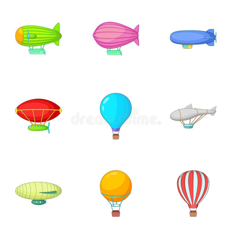 I tipi di icone del dirigibile hanno messo, stile del fumetto illustrazione vettoriale